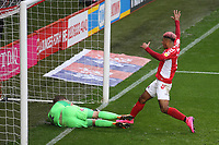 Coventry City goalkeeper, Lee Burge, just manages to stop the ball crossing the line as Charlton's Lyle Taylor moves in during Charlton Athletic vs Coventry City, Sky Bet EFL League 1 Football at The Valley on 6th October 2018
