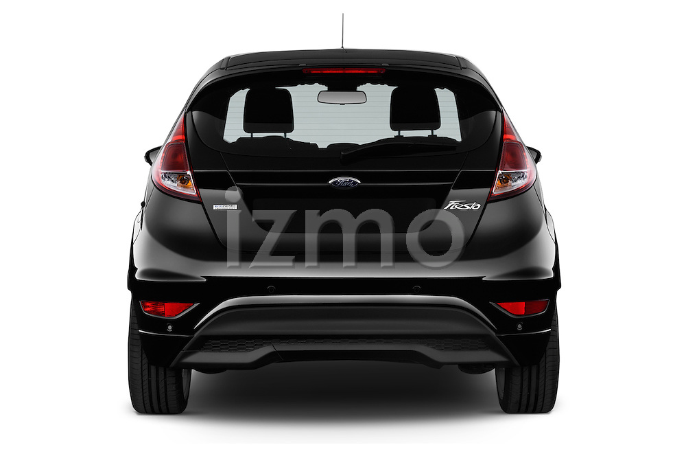 Straight rear view of a 2014 Ford FIESTA Sport 3 Door Hatchback 2WD Rear View  stock images