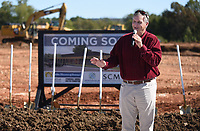 NWA Democrat-Gazette/DAVID GOTTSCHALK Mayor Doug Sprouse speaks Tuesday, October 8, 2019, during the ground breaking ceremony for the new Animal Shelter and Adoption Center of Springdale. The new facility, located at 1549 E. Don Tyson Parkway, was made possible by a 2018 $200 million bond program voted on by residents that also includes money for streets, fire stations and a new city administration building.