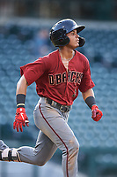 AZL D-backs Jose Curpa (3) runs to first base during an Arizona League game against the AZL Cubs 1 on July 25, 2019 at Sloan Park in Mesa, Arizona. The AZL D-backs defeated the AZL Cubs 1 3-2. (Zachary Lucy/Four Seam Images)