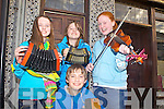 Busking for the Fleadh was Maeve Trant(Listowel), Padraig and Aoife Enright(Lixnaw) and Fionnualla Trench(Listowel) pictured together last Friday evening in Abbeyfeale.