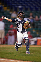 Pitt Panthers catcher Manny Pazos (43) during practice before a game against the Ohio State Buckeyes on February 20, 2016 at Holman Stadium at Historic Dodgertown in Vero Beach, Florida.  Ohio State defeated Pitt 11-8 in thirteen innings.  (Mike Janes/Four Seam Images)