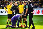 11.05.2019, Signal Iduna Park, Dortmund, GER, 1.FBL, Borussia Dortmund vs Fortuna Düsseldorf, DFL REGULATIONS PROHIBIT ANY USE OF PHOTOGRAPHS AS IMAGE SEQUENCES AND/OR QUASI-VIDEO<br /> <br /> im Bild | picture shows:<br /> Marwin Hitz (Borussia Dortmund #35) liegt nach einem Zusammenprall mit Dodi Lukebakio (Fortuna #20)  benommen um Strafraum und muss lange behandelt werden, der BVB um Lukasz Piszczek (Borussia Dortmund #26) diskutiert mit Schiedsrichter | Referee Tobias Stieler, <br /> <br /> Foto © nordphoto / Rauch