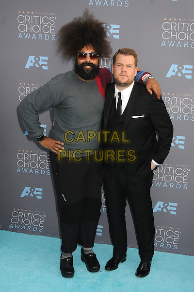 17 January 2016 - Santa Monica, California - Reggie Watts, James Corden. 21st Annual Critics' Choice Awards - Arrivals held at Barker Hangar. <br /> CAP/ADM/BP<br /> &copy;BP/ADM/Capital Pictures