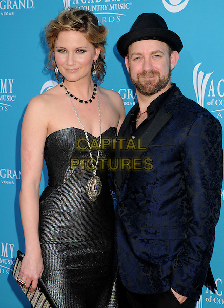 Jennifer Nettles and Kristian Bush of Sugarland.45th Annual Academy Of Country Music Awards held at the MGM Grand Garden Arena, Las Vegas, NV, USA..April 18th, 2010.half length black blue grey gray silver strapless dress suit jacket hat beard facial hair necklace .CAP/ADM/BP.©Byron Purvis/AdMedia/Capital Pictures.