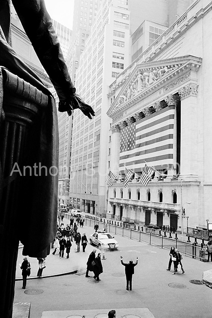 New York, New York<br /> March 14, 2008 <br /> <br /> The New York Stock Exchange on the day that Bear Stearns investors bailed out en masse and stock shares fell sharply. Two days later the Federal Reserve bailed out Bear Stearns with a $30 billion investment along side JP Morgan fearing a global economic crisis as the Asian markets opened.