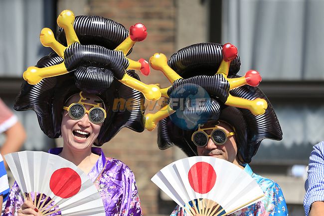 Colourful fans at sign on in Verviers before the start of Stage 3 of the 104th edition of the Tour de France 2017, running 212.5km from Verviers, Belgium to Longwy, France. 3rd July 2017.<br /> Picture: Eoin Clarke | Cyclefile<br /> <br /> <br /> All photos usage must carry mandatory copyright credit (&copy; Cyclefile | Eoin Clarke)