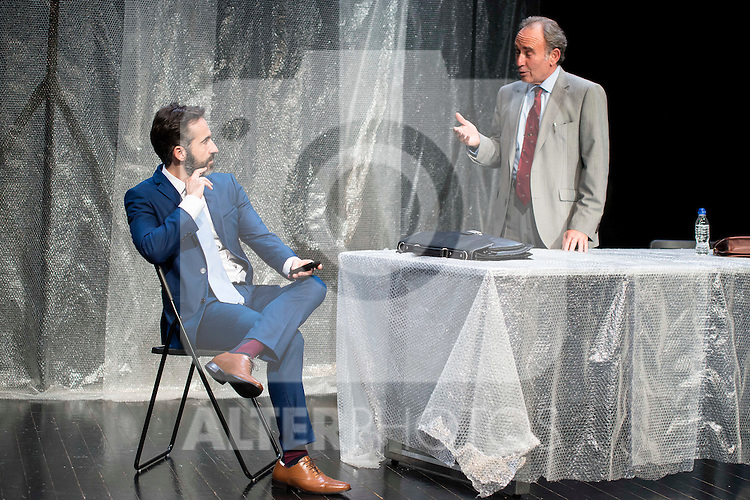 """Pepe Ocio and Philip Rogers during the theater play of """"Debate"""", the comeback to the teather of Toni Canto at Teatros del Canal in Madrid. May 03, 2016. (ALTERPHOTOS/Borja B.Hojas)"""