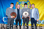 Marc O'Shea and Mark Ryall standing with Darragh O'Donoghue (Hurling Playr of the Year) and Tadhg Brick (Captain of Senior Football) at the CBS Sports Award evening in the Rose Hotel on Thursday.