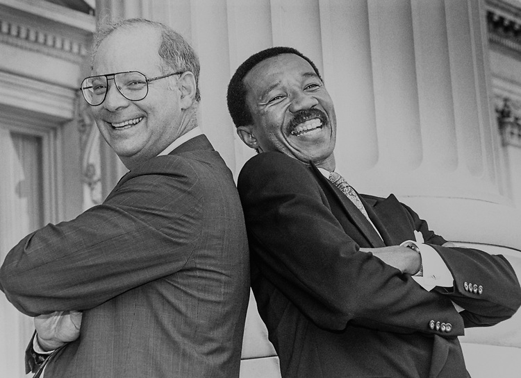Best Friends, Rep. Ben Cardin, D-Md., and Rep. Kweisi Mfume, D-Md., on Sep. 10, 1990. (Photo by Maureen Keating/CQ Roll Call via Getty Images)