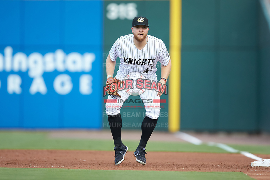 Charlotte Knights first baseman A.J. Reed (47) on defense against the Scranton/Wilkes-Barre RailRiders at BB&T BallPark on August 14, 2019 in Charlotte, North Carolina. The Knights defeated the RailRiders 13-12 in ten innings. (Brian Westerholt/Four Seam Images)