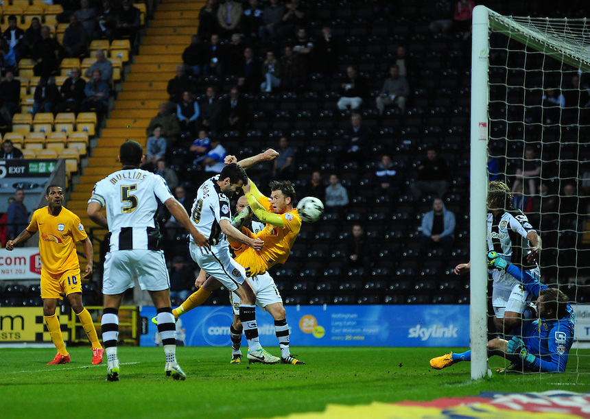 Preston North End's Joe Garner scores his sides second goal <br /> <br /> Photographer Chris Vaughan/CameraSport<br /> <br /> Football - The Football League Sky Bet League One - Notts County v Preston North End - Tuesday 21st April 2015 - Meadow Lane - Nottingham<br /> <br /> &copy; CameraSport - 43 Linden Ave. Countesthorpe. Leicester. England. LE8 5PG - Tel: +44 (0) 116 277 4147 - admin@camerasport.com - www.camerasport.com