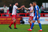 Danny Newton of Stevenage (L) scores the first goal for his team and celebrates during Stevenage vs Notts County, Sky Bet EFL League 2 Football at the Lamex Stadium on 11th November 2017