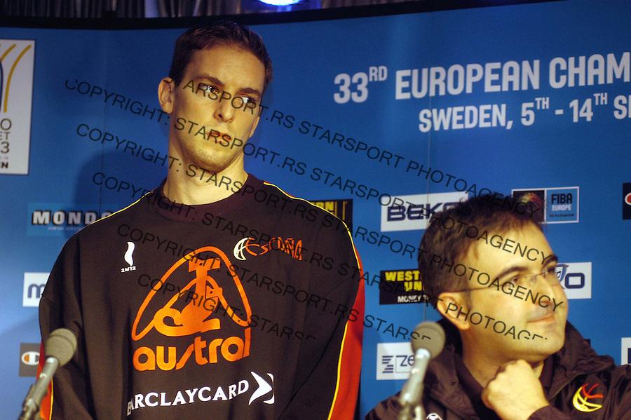 SPORT KOSARKA EURO 2003. STOKHOLM SPANIJA&amp;#xA;Gasol&amp;#xA;4.09.2003.&amp;#xA;foto: Pedja Milosavljevic<br />