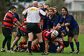 Players look expectantly at the referee for his decision. Counties Manukau Division 2 Rugby game between Onewhero & Papakura played up on the hill at Onewhero on Saturday June 28th 2008..Papakura won 25 - 13 after Onewhero led 10 - 8 at halftime.
