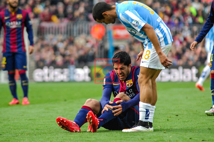League BBVA 2014/2015 - Game: 24.<br /> FC Barcelona vs Malaga CF: 0-1.<br /> Luis Suarez &amp; Roberto Rosales.