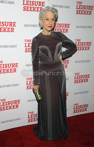 NEW YORK, NY - JANUARY 11:  Helen Mirren at The Leisure Seeker New York Screening at AMC Loews Lincoln Square in New York City on January 11, 2018. Credit: John Palmer/MediaPunch