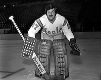 California Golden Seal goalie Gilles Meloche, (1974 photo by Ron Riesterer)