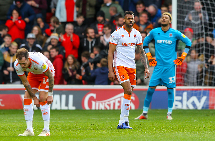 Blackpool players react to conceding an equaliser<br /> <br /> Photographer Alex Dodd/CameraSport<br /> <br /> The EFL Sky Bet League One - Barnsley v Blackpool - Saturday 27th April 2019 - Oakwell - Barnsley<br /> <br /> World Copyright © 2019 CameraSport. All rights reserved. 43 Linden Ave. Countesthorpe. Leicester. England. LE8 5PG - Tel: +44 (0) 116 277 4147 - admin@camerasport.com - www.camerasport.com