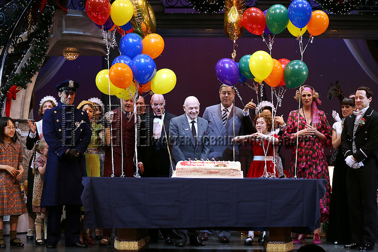 J. Elaine Marcos, Clarke Thorell, Anthony Warlow, Charles Strouse, Merwin Foard, Lilla Crawford, Jane Lynch, Brynn O'Malley & the cast from Broadway's iconic musical ANNIE celebrate creator Charles Strouse's 85th Birthday at The Palace Theatre in New York City on June 06, 2013.