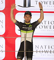 PICTURE BY MARK GREEN/SWPIX.COM ATP  Tour of Abu Dhabi - Yas Island Stage, UAE, 26/02/17<br /> The&nbsp;Green Jersey,&nbsp;sponsored by&nbsp;Nation Towers&nbsp;(General individual classification by points) was won by Mark Cavendish (Team Dimension Data)