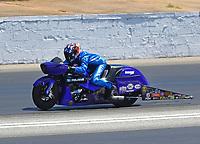 May 7, 2017; Commerce, GA, USA; NHRA pro stock motorcycle rider Matt Smith during the Southern Nationals at Atlanta Dragway. Mandatory Credit: Mark J. Rebilas-USA TODAY Sports