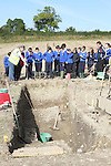 Students from Dillonstown NS at the Site where archaeologists believe they have found the remains of a huge Viking fortress near the village of Annagassan in Co Louth...Picture Jenny Matthews/Newsfile.ie