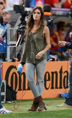 27.06.2012. Donetsk, Ukraine.  European Championship 2012 Semi-finals Portugal versus Spain.   TV Presenter Sara Carbonero,  Fiance of Spains Goalkeeper Iker Casillas pre-game