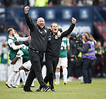 Hibs backroom boys Andy Holden and John Doolan celebrate after the penalty shootout