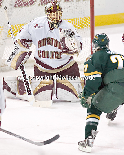 Cory Schneider (Chris Myers) - The Boston College Eagles completed a shutout sweep of the University of Vermont Catamounts on Saturday, January 21, 2006 by defeating Vermont 3-0 at Conte Forum in Chestnut Hill, MA.