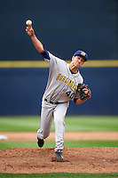Burlington Bees relief pitcher Jared Ruxer (40) delivers a pitch during a game against the Quad Cities River Bandits on May 9, 2016 at Modern Woodmen Park in Davenport, Iowa.  Quad Cities defeated Burlington 12-4.  (Mike Janes/Four Seam Images)