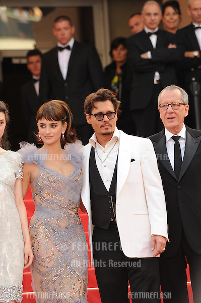 "Johnny Depp, Penelope Cruz & Geoffrey Rush at the gala screening for their movie ""Pirates of the Caribbean: On Stranger Tides"" at the 64th Festival de Cannes..May 14, 2011  Cannes, France.Picture: Paul Smith / Featureflash"