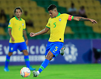 ARMENIA, COLOMBIA - JANUARY 19: Brazil's Bruno Guimaraes shoots during his CONMEBOL Pre-Olympic soccer game against Peru at Centenario Stadium on January 19, 2020 in Armenia, Colombia. (Photo by Daniel Munoz/VIEW press/Getty Images)