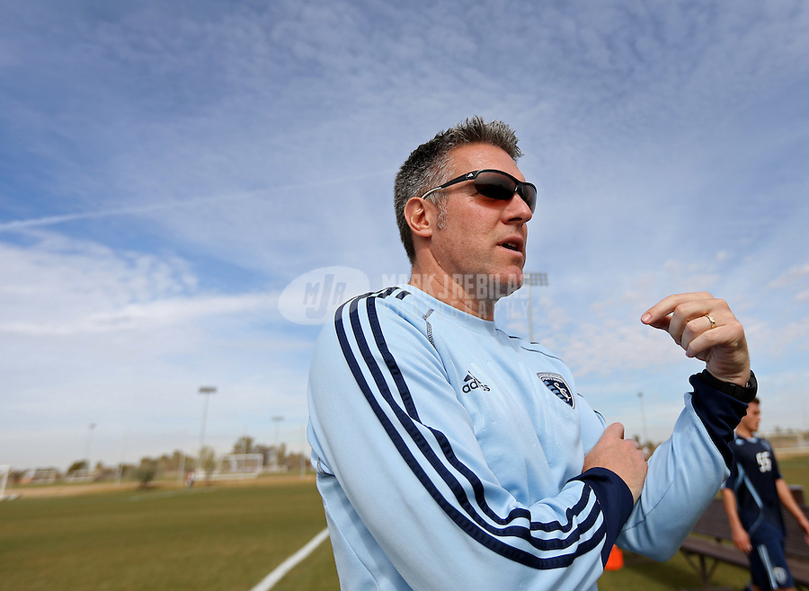 Jan. 25, 2013; Casa Grande, AZ, USA: Sporting KC head coach Peter Vermes against the New England Revolution during a preseason game at Grande Sports World. Mandatory Credit: Mark J. Rebilas-USA TODAY Sports
