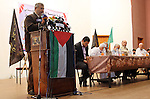 Islamic Jihad leader Khaled al-Batsh speaks during a national meeting between his movement and Hamas movement in Khan Younis in the southern Gaza Strip, June 7, 2015. Photo by Abed Rahim Khatib