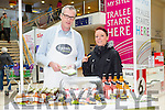 Guy Hobert of Hoberts fine foods with Catherine O'Sullivan from Rathass Tralee at the Taste of Tralee Food Fair Manor West Retail Park on Saturday