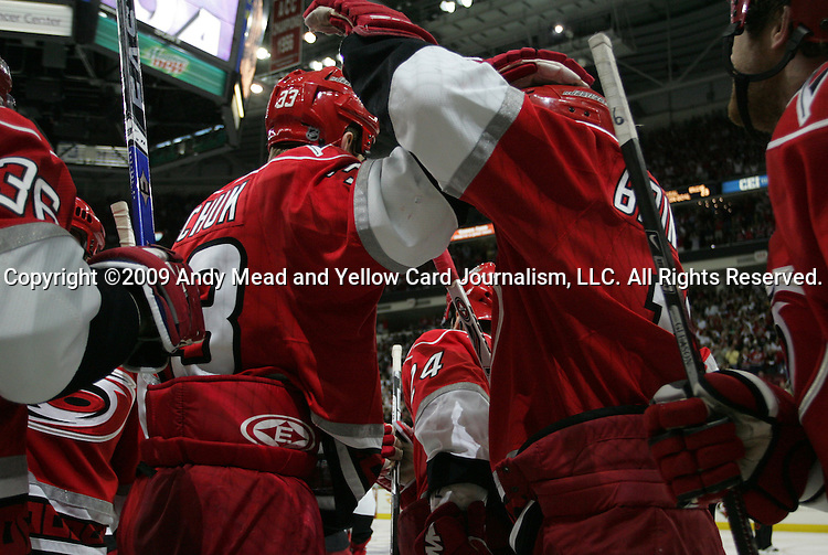 06 May 2009: Carolina Hurricanes players celebrate after Jussi Jokinen (FIN) (left, 36) scored the game-winning overtime goal. The Carolina Hurricanes defeated the Boston Bruins 3-2 in overtime at the RBC Center in Raleigh, NC in Game 3 of their 2009 National Hockey League Eastern Conference Semifinal playoff series.