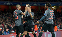Arturo Vidal of Bayern Munich (left) celebrates with his team mates after scoring their 4th goal to make it 1-4 during the UEFA Champions League round of 16 match between Arsenal and Bayern Munich at the Emirates Stadium, London, England on 7 March 2017. Photo by Alan  Stanford / PRiME Media Images.