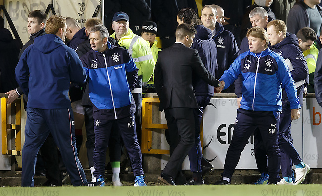 Stuart McCall with Mark Burchill at full-time
