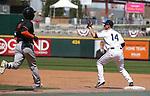 Reno Aces' Marcus Littlewood gets the out against Fresno Grizzlies' Alejandro Garcia in Reno, Nev., on Monday, April 9, 2018. <br /> Photo by Cathleen Allison/Nevada Momentum