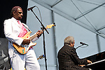 Rodney Glynn Armstrong 'Guitar Slim Jr.' and Allen Toussaint perform during the New Orleans Jazz & Heritage Festival in New Orleans, LA.