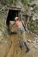Marmato, Caldas state, Colombia, a dramatic case of environmental destruction due the work of illegal gold miners that process tons of rocks using hazardous chemical at the open, and throwing the contaminated mud into the rivers of the place