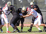 Palos Verdes, CA 10/21/16 - Jeffrey Jimena (Peninsula #6), Tua'au Laolagi (Redondo Union #51), Carson Sten (Redondo Union #17), Alex Bobb (Peninsula #88) and unidentified Peninsula player(s) in action during the CIF Southern Section Bay League Redondo Union - Palos Verdes Peninsula game at Peninsula High School.