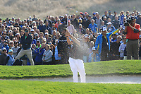 Phil Mickelson (Team USA) on the 5th green during the Friday Foursomes at the Ryder Cup, Le Golf National, Ile-de-France, France. 28/09/2018.<br /> Picture Thos Caffrey / Golffile.ie<br /> <br /> All photo usage must carry mandatory copyright credit (© Golffile | Thos Caffrey)