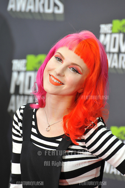 Singer Hayley Williams of Paramore at the 2013 MTV Movie Awards at Sony Studios, Culver City..April 14, 2013  Los Angeles, CA.Picture: Paul Smith / Featureflash