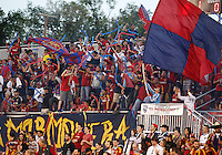 Real Salt Lake fans cheer during a game against Real Salt Lake and D.C. United at the U.S. Open Cup Final on October  1, 2013 at Rio Tinto Stadium in Sandy, Utah.
