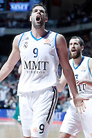 Real Madrid's Felipe Reyes (l) and Sergio Rodriguez celebrate during Euroleague 2012/2013 match.January 11,2013. (ALTERPHOTOS/Acero) /NortePhoto
