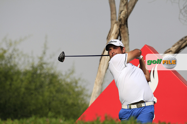 Alexander Levy (FRA) tees off the 11th tee during Sunday's Final Round of the Abu Dhabi HSBC Golf Championship 2015 held at the Abu Dhabi Golf Course, United Arab Emirates. 18th January 2015.<br /> Picture: Eoin Clarke www.golffile.ie