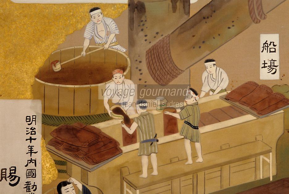 Asie/Japon/Tokyo: Chateau de Kikkoman (lieu de production de l'entreprise qui fabrique la sauce soja) - Détail d'estampes représentant la fabrication de la sauce soja