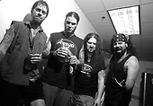 Pantera - L-R: Rex Brown, Phil Anselmo, Dimebag Darrell, Vinnie Paul -  Backstage Photo Session at the 1997 Ozzfest held at the Sony Blockbuster Entertainment Center in Camden  NJ USA - Jun 08,1997.  Photo credit: Eddie Malluk/IconicPix